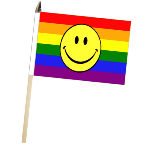 Rainbow Smiley Face 12'' x 18'' Flag on a Stick