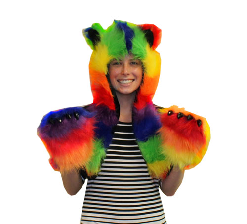 Rainbow Furry Animal Hood/Hat