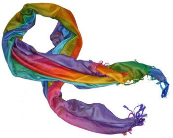 Rainbow Pashmina Shawl Poncho