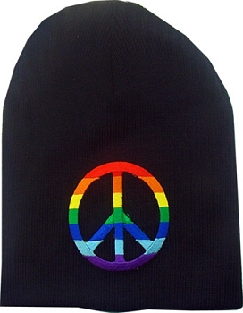 Rainbow Peace Knit Beanie