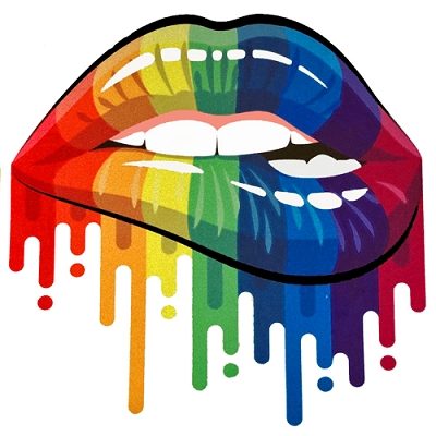 Rainbow Dripping Lips Sticker (Reflective)