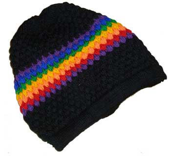 Rainbow/Black Knit Cap