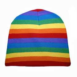 Rainbow Knit Beanie Cap