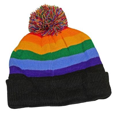 Rainbow Knit Beanie Cap w/Pom