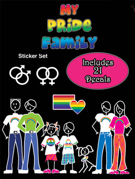 Gay Pride Stick Family Sticker Pack