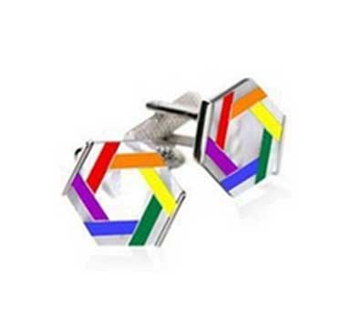 Stainless Steel Rainbow Cufflinks