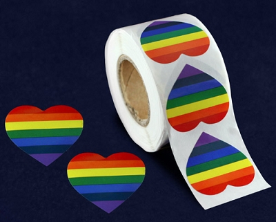 Rainbow Heart Stickers (500 stickers)