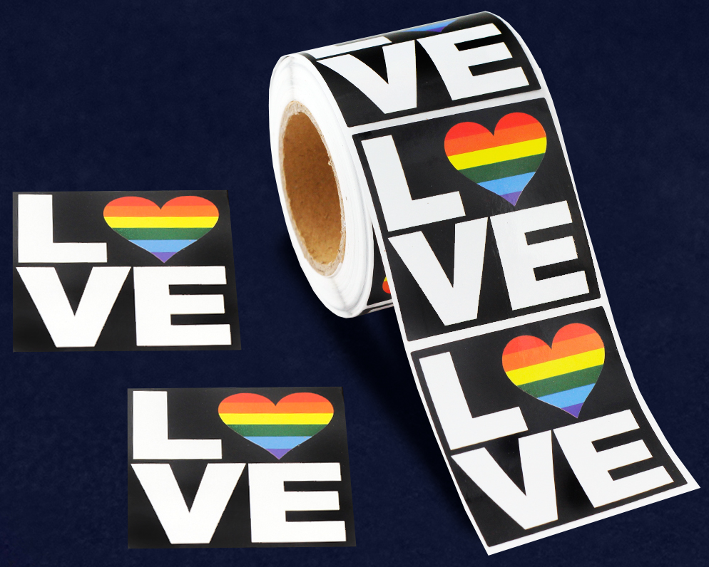 Rainbow (Heart) LOVE Stickers (250 stickers)