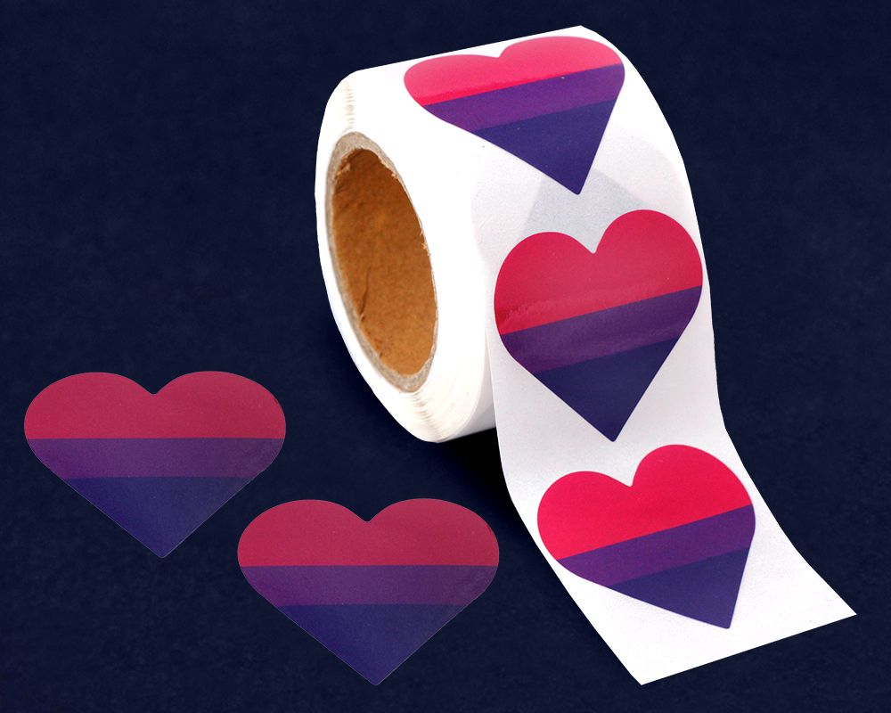 Bisexual Heart Stickers (1 roll - 250 stickers)