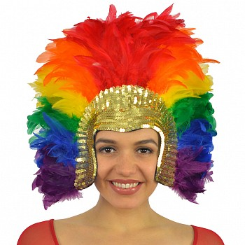 Rainbow Feather Headdress
