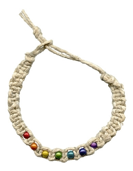 Rainbow Beads Hemp Choker / Necklace