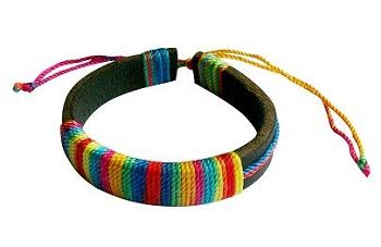 Rainbow Corded Leather Bracelet