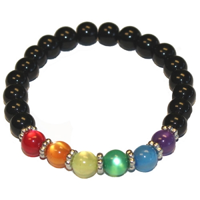 Rainbow Glass Bead Bracelet