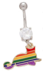 Rainbow Cat Dangle Belly Ring