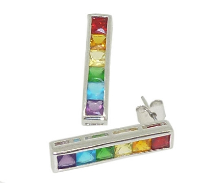 Rainbow Stones Silver Earrings