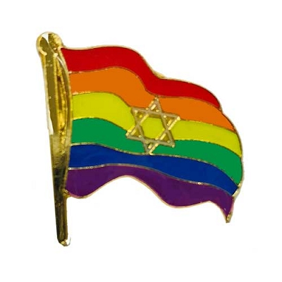 Rainbow Wavy Flag Star of David Lapel Pin