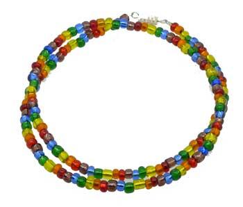 Rainbow Glass Bead Necklace