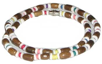 Rainbow & Large Brown Bead Necklace