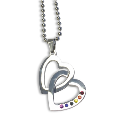 Rainbow Gems Double Heart Pendant