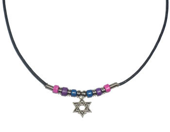 Bi Pride Beads with Star of David Necklace