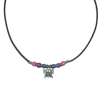 Bi Pride Beads with Butterfly Necklace