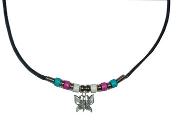 Trans Pride Beads with Butterfly Necklace