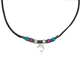 Trans Pride Beads with Dolphin Necklace