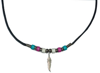 Trans Pride Beads with Feather Necklace