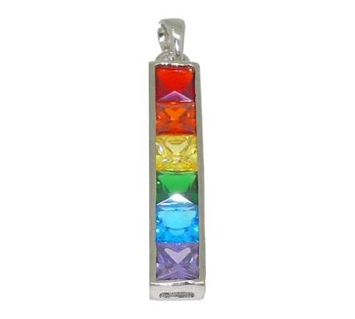 Rainbow Stone Silver Pendant