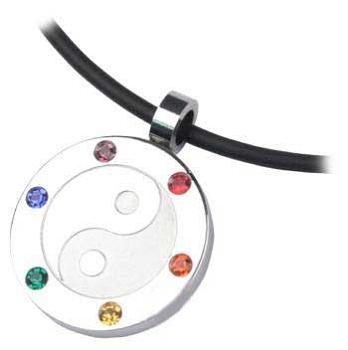 Rainbow Jeweled Yin & Yang Pendant