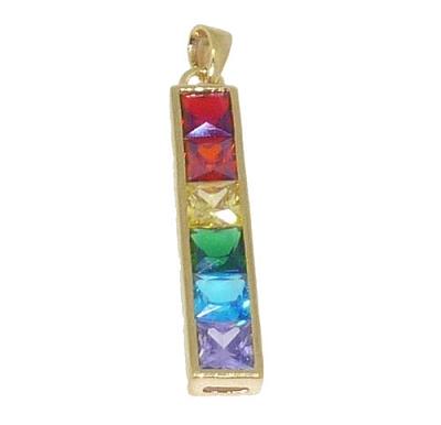 Rainbow Stone Gold Pendant