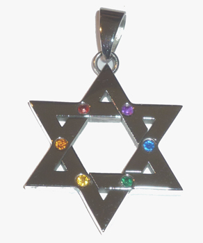 Stainless Steel Star of David Pendant / Necklace with Rainbow Stones