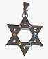 Star of David Pendant / Necklace with Rainbow Stones