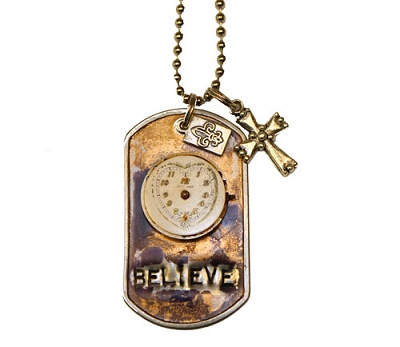 Time to Believe Metal ID Tag / Necklace