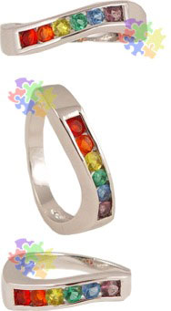 Silver Wave Ring with Rainbow Stones