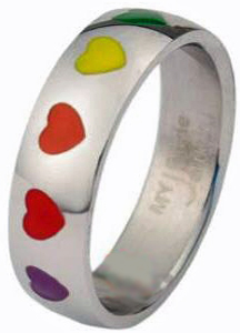 Rainbow Hearts Ring