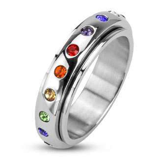 Spinner Ring with Rainbow Color Gems (thin band)
