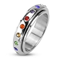 Spinner with Rainbow Color Gems Ring (size 12 only)