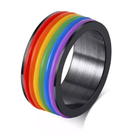 Rainbow Stones Silver Ring