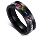 Rainbow Stones Black Stainless Steel Ring (size 5 & 7 only)