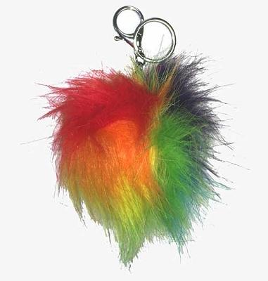 Rainbow Fuzzy Key Chain