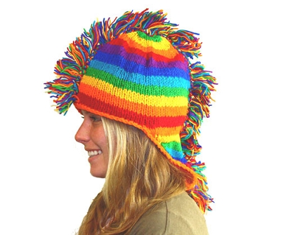 Rainbow Knit Mullet Mohawk Cap