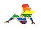 Rainbow Mudflap Girl Lapel Pin