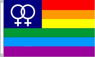 Double Female Rainbow Flag 3ft x 5ft Printed Polyester
