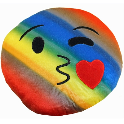 Plush Pillow Rainbow Wink Kiss Emoji Pillow