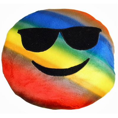 Plush Pillow Rainbow Smile with Sunglasses Emoji Pillow