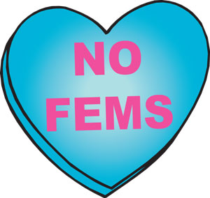 No Fems (heart) Mouse Pad