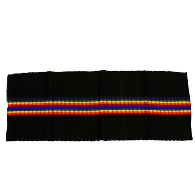 Rainbow and Black Woven Cotton Scarf