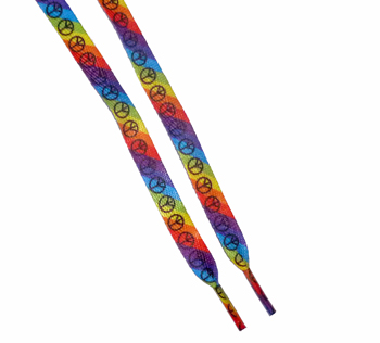 Rainbow Stripe with Peace Sign Shoelaces