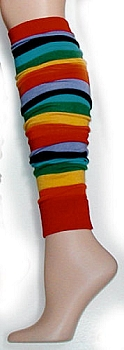 Rainbow Flat Knit Leg Warmers